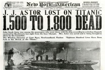 ECN 032014_History-Titanic newspaper headline