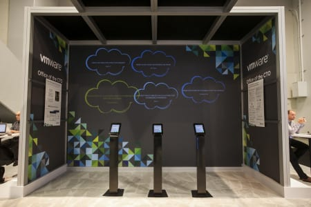 Interactive gaming experience using iPads brings attendees to VMware booth.