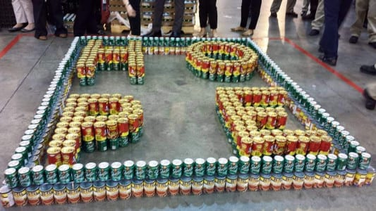 The facility's Food & Beverage Department constructed the winning design using chili, tomato and soda cans.