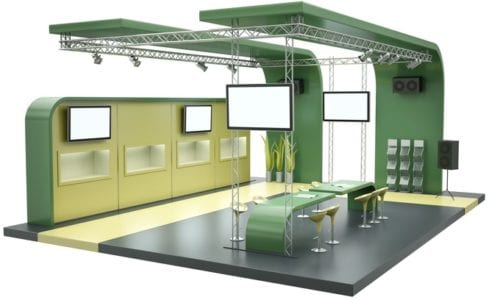 Green tradeshow booth cropped
