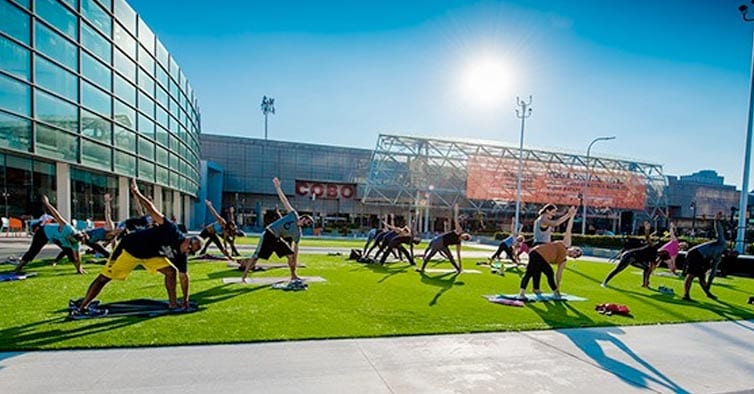 Cobo Cares Launches 2018 Season with Sunrise Riverfront Yoga