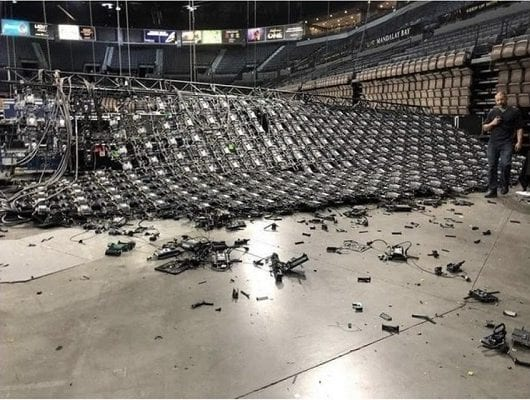 Rigging World Mandalay Bay video wall collapse front view