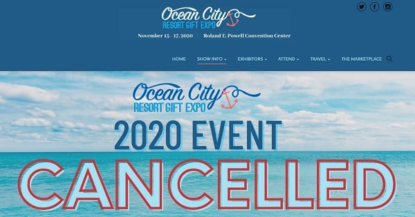 New Gov. Mandates Cancel 2020 Ocean City Resort Gift Expo
