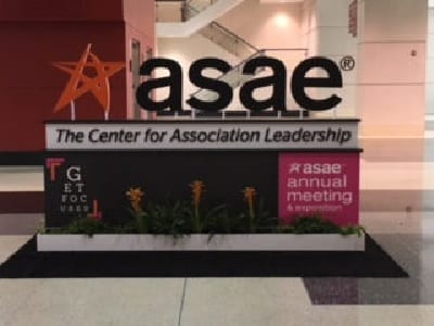 asae logo and desk